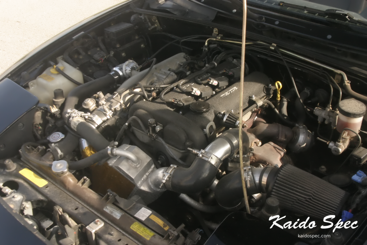 The NA in the previous shot is running a custom turbo setup featuring an OEM T25 from an SR20DET, air to water intercooler, all controlled with a megasquirt.